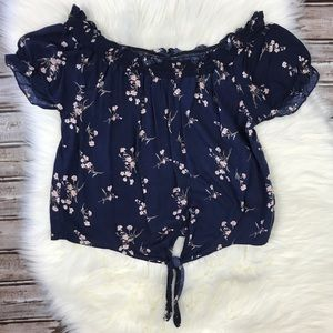 Mimi Chica Navy Floral Cropped Tie Peasant Top